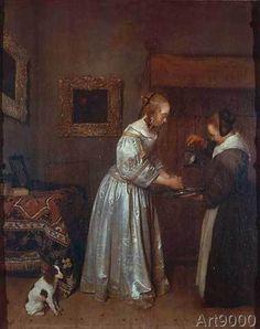 Gerard ter Borch or Terborch - Eine Dame, die sich die Hände wäscht