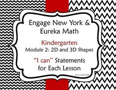 """Engage New York / Eureka Math Kindergarten Module 2 """"I can"""" statements for each lesson"""