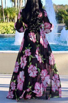 Lovely Bohemian V Neck Long Sleeves Floral Printed Black Chiffon Floor Length Dress Side Slit Maxi Dress, V Neck Dress, Gown Dress, Print Chiffon, Chiffon Dress, Evening Dresses, Summer Dresses, Party Dresses, Maxi Dresses