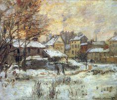 Reproduction de Monet, Argenteuil sous la neige au coucher du soleil. Tableau peint à la main dans nos ateliers. Peinture à l'huile sur toile.