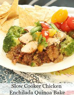 My favorite crock pot recipe! Heart Healthy Slow Cooker Chicken Enchilada Quinoa Bake - Low Calorie, Low Fat - Healthy - Super Suppers