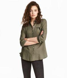 Bomuldsskjorte | Kaki | Dame | H&M DK