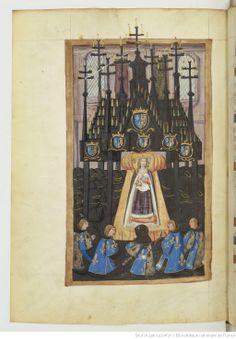Funérailles d'Anne, Duchesse de Bretagne, Reine de France. Nouvel exemplaire de la relation contenue dans le ms. français 5094. Cet exemplaire est dédié à une dame issue de la maison de Vendôme, Renée de Bourbon, abbesse de Fontevrault de 1490 à 1534, laquelle était fille de Jean II de Bourbon, comte de Vendôme. La dédicace est en 12 vers. Premier vers (fol. 2 v°).