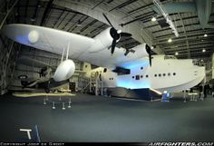 """Short S-25 Sunderland V, ML824 / NS-Z (cn SH.984). This former French Navy Sunderland is now preserved in the great RAF Museum Hendon in London. Dwarfed behind left Supermarine Seagull/Walrus (aka """"Shagbat"""")."""
