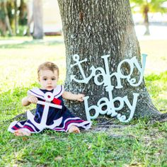 Ahoy Baby Photo Props - Nautical Baby Shower Decor or Photography Props - Mint or Custom Colors (Item - AHB104)