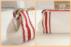 Alma Clutch - Linen with Red Trim Handbag - Carlacopia Clutch Purse, Gift Guide, Birthday Gifts, Fashion Accessories, Women's Fashion, Purses, Boho, Fabric, Red