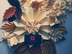 Origami - Folhas de Outono <3 Origami leaf, flowers, autumn <3  http://www.meirehirata.com/