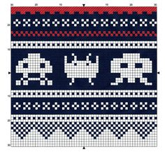 Space Invaders - free pattern for cross stitch or hama beads Fair Isle Knitting Patterns, Knitting Charts, Knitting Designs, Knitting Stitches, Knitting Yarn, Cross Stitch Borders, Cross Stitching, Cross Stitch Embroidery, Cross Stitch Patterns