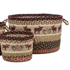Moose & Pinecone Braided Utility Basket - Large - Exclusive - Keep cabin goods close at hand in rustic style with these braided natural jute handled baskets with hand-printed moose and pinecone details. Country Decor, Rustic Decor, Rustic Theme, Moose Nursery, Moose Decor, Black Forest Decor, Large Baskets, Baby Baskets, Cozy Cabin
