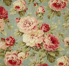 Multi colored floral fabric on soft aqua background - washed with weathered shabby chic look. Multi purpose home décor fabric for light use upholstery, slipcovers, drapery fabric, pillow covers, swags or top of the bed. Tela Shabby Chic, Shabby Chic Stoff, Shabby Chic Fabric, Shabby Fabrics, Vintage Diy, Vintage Roses, Vintage Paper, Shabby Chic Living Room, Shabby Chic Homes