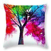 Rainbow Tree Throw Pillow by Ann Marie Bone