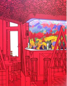 Patrick Caulfield – black outlines, and bright, saturated colours Pop Art, Chevy Chase, Ligne Claire, Gcse Art, Saturated Color, Art Design, Art And Architecture, Light In The Dark, Painting & Drawing