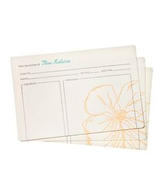 Snow Drop Anemone Personalized Recipe Cards #gifts