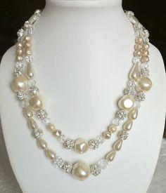 Cream & crystal 2 strand necklace