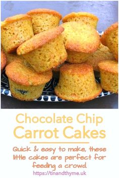 Chocolate Chip Carrot Cakes. Quick & easy to make, these delicious little cakes are perfect for feeding a crowd. #TinandThyme #PartyCakes #MiniCakes #CarrotCakes #ChocolateChip Cakes