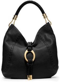 Michael Kors Collection Skorpios Black Hobo Gold Ring Leather Bag Handbag Purse #Handbag #MichaelKors - Buy New: $995.00: - Braided top handles