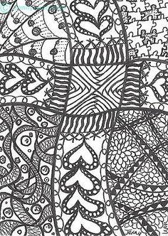 "Original zentangle Cross Drawing ACEO- ""Cross Road"" by Jenny Luan"