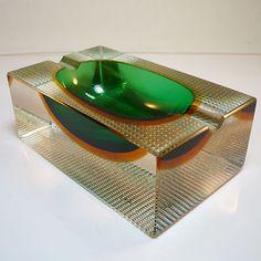 Murano Glas Vase Schale • Flavio Poli für Seguso