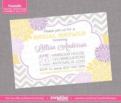 Purple Yellow Floral Bridal Shower Grey Chevron Lilac Lavender Floral Baby Shower Invite Typographic Modern Invite - Printable Digital File by ZoeyBlueDesigns on Etsy https://www.etsy.com/listing/263482064/purple-yellow-floral-bridal-shower-grey