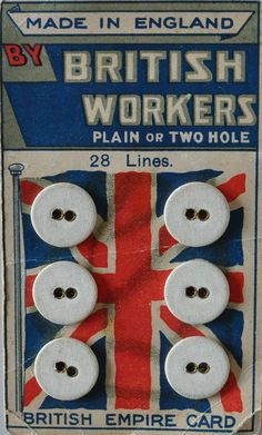 Lovely vintage button card... made by British workers #England #British #Vintage