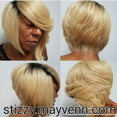 """This bob cut is everything!! This look was achieved with 3 bundles of 14"""" 613 Blonde with dark roots Mayvenn hair .  Shop the look. Use coupon code COZY get 15% off. Free shipping for all orders https://stizzy.mayvenn.com  Like my Facebook page https://www.facebook.com/stizzy.mayveinhair/  #mayvennmade #mayvennstylist #mayvennmade #mayvennhair #haircut #haircolor"""