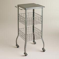 Zinc Lauren Basket Rolling Cart