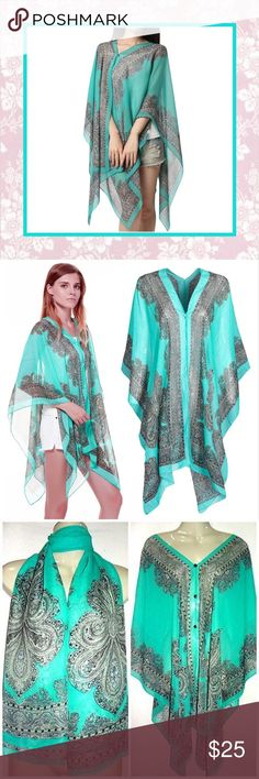 🌸  New Teal Paisley Multipurpose Shawl Scarf Wrap Unique Styles New Teal Turquoise Paisley Print Chiffon Multipurpose Beachwear Poncho Tunic Shawl Scarf Poncho Cape Women Kaftan Bikini Beachwear Swimsuit Cover Up. Very BoHo chic hippie gypsy tribal vintage hipster casual beach islander pixie fairy Wiccan goddess Bohemian style. NWOT Accessories Scarves & Wraps