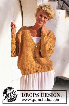 Autumn's Gold / DROPS 51-6 - Modèles tricot gratuits de DROPS Design Ladies Cardigan Knitting Patterns, Cardigan Pattern, Knitting Patterns Free, Free Knitting, Free Pattern, Drops Design, Tweed, Angora, Summer Knitting