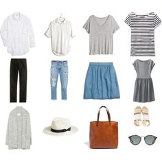 Summer Essentials by laurencrobertson on Polyvore featuring Uniqlo, Madewell, Zara, H&M, AG Adriano Goldschmied, J.Crew, Boden, Sol Sana and BP.