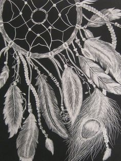 Original art - Dreamcatcher on scratchboard. $80.00, via Etsy.