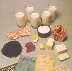 Rations for One Person in Britain, how slim we would all be if we stuck to this! (These are the rationed foods, most people would grow their own vegatables) so veg would not be rationed, no eggs unless you had hens, just powdered egg. Some items were World History, World War Ii, Wartime Recipes, Food Rations, Depression Era Recipes, Make Do And Mend, The Blitz, Vintage Recipes, Vintage Food
