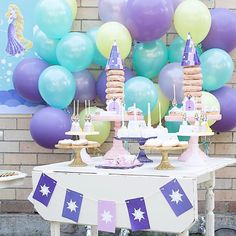 "PAPERplayground on Instagram: ""Rapunzel tablescape by @prettypedestals with our complete bespoke paperie including dessert tags, donut tower top and door, Rapunzel sun bunting and the backdrop peeping through  balloon wall by @houseofpartyonline 