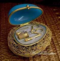 """Antique French Blue Opaline Etui """"Five Pieces"""" from worldrarities on Ruby Lane"""