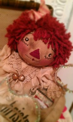 Annie is an Angel, Original Prim Raggedy Doll Pattern, PDF Version Raggedy Ann And Andy, Doll Patterns, Annie, Lace Trim, My Design, Sewing Projects, Primitive, Dolls, The Originals