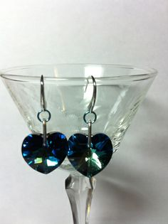 Something sparkly. Ear Rings, Blue Crystals, Heart Shapes, Jewelry Design, Medium, Beautiful, Earrings