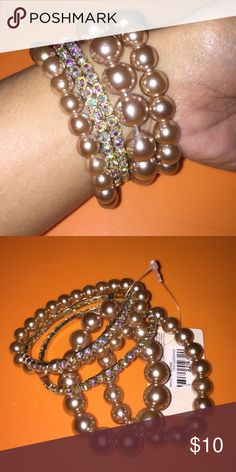 Rhinestones & Pearls Blush Bracelets...NWT Brand new with tag.  There are 5 bracelets total. 2 cute  ones and 3 cute pearl bracelets. The bracelets are stretchy to fit any size wrist.  Color: Blush   ❌NO TRADES ❌NO HOLDS ❌NO   My home is smoke free & pet free!!!! I do ship quick!!!! Forever 21 Accessories