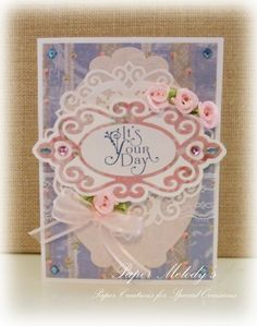 Feminine Happy Birthday Card made with Crafty Secrets papers and digital art stamps by Paper Melody's