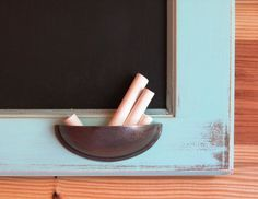 Distressed Robin's Egg Blue Framed Chalkboard from Upcycled Cabinet Door - Whimsical Color Collection Small Projects Ideas, Diy Craft Projects, Projects To Try, Craft Ideas, Chalk Holder, Door Crafts, Framed Chalkboard, Cupboard Doors, Diy For Kids