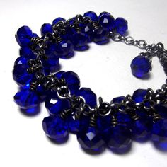 Cobalt Blue Bracelet  Glass charm Bracelet with by NedjmaBazaar, $35.00