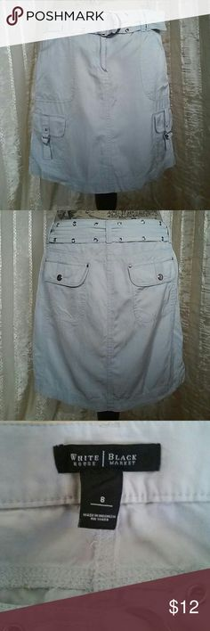 "White House Black Market Women's Skirt Women's skirt with belt Grey in color By White House Black Market  Size 8 Measures about 17"" across waist  About 17"" in length  Great preowned condition White House Black Market Skirts"