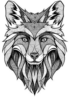 Personal Project - Printable Size about 80 x 80 cm, 300 dpiBecause a lot of people asked: No, I didn't use illustrator for this. There are some minor vector graphics which I made in Photoshop. At least of what you see here is done by hand with penci… Wolf Tattoos, Fox Tattoo, Animal Tattoos, Head Tattoos, Wolf Tattoo Design, Mandalas Drawing, Mandala Coloring Pages, Fox Coloring Page, Mandala Wolf