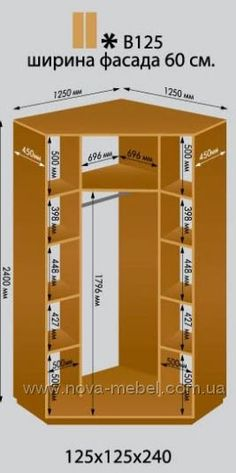 Угловой шкаф-купе для спальни 125x125х240(Н) см Шкафы-купе Виват: