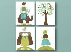 Elephant nursery art Owl nursery Turtle nursery by GalerieAnais