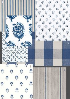 pretty blue and white & french fabrics with ticking and checks from Ian Mankin - The Paper Mulberry: The French Country Kitchen French Country Fabric, French Country Bedrooms, French Fabric, French Country Cottage, French Country Style, French Farmhouse, French Countryside, Blue Kitchen Decor, Country Kitchen