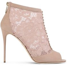 Dolce & Gabbana Ankle Boots (€985) ❤ liked on Polyvore featuring shoes, boots, ankle booties, heels, pastel pink, lace heel booties, lace-up ankle boots, pink boots, short boots and pink booties