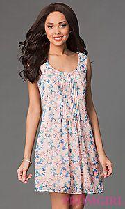 Buy Short Scoop Neck Sleeveless Print Dress by As U Wish at PromGirl