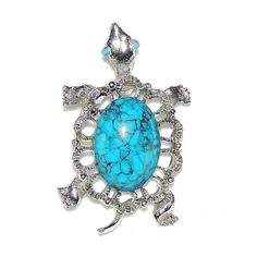 Turtle Pin Brooch or Pendant w/ Simulated Turquoise Shell Silver Tone Chain Loop #unknown #PinBackwloopfornecklace