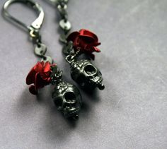 Gothic Jewelry  Skull and Roses Earrings by ValerieMiscellanea, $19.00. I want these so bad!!