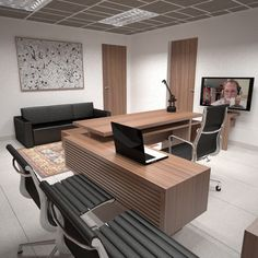 """2012 - """"Wooden made"""" proposal for executive office Law Office Design, Law Office Decor, Office Table Design, Modern Office Desk, Medical Office Design, Office Furniture Design, Contemporary Office, Office Interior Design, Office Interiors"""