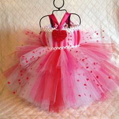 Valentines Day tutu dress baby to 18 months, holiday dress, photo prop, wedding, birthday, Valentine's Day Dress